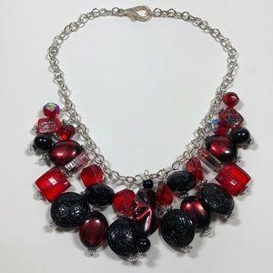 Vtg red & black beaded costume statement necklace